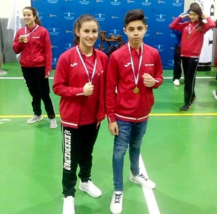 Nerea Amado e Marting Garcia do Kick Boxing Ponteceso