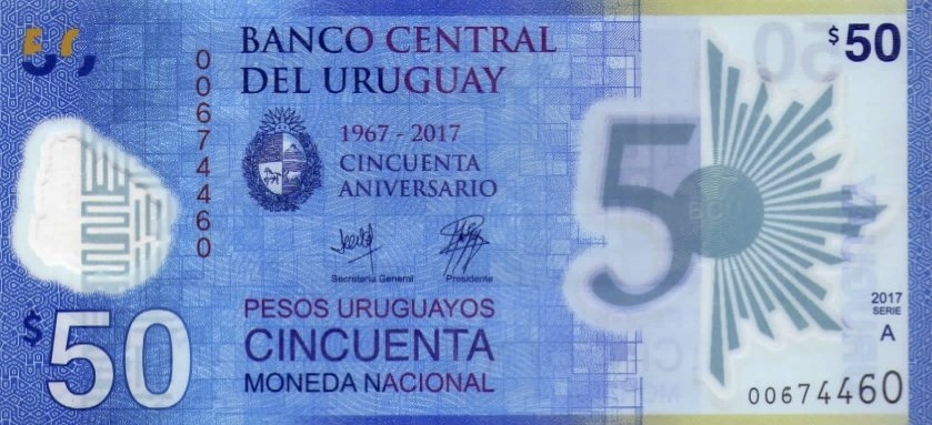 Novo billete do Uruguay de 50 pesos