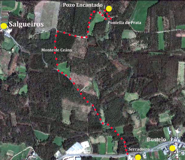 Mapa- Pozo Encantado Salgueiros-Dumbria